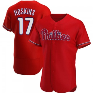 Men's Philadelphia Phillies Rhys Hoskins Red Alternate Jersey - Authentic